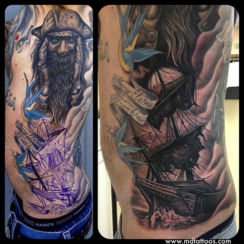Tattoos - Pirate Ship Tattoo - 76280