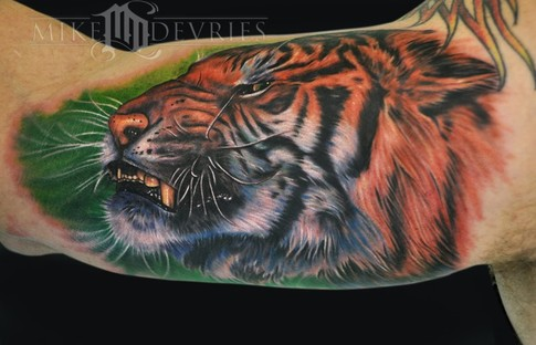 Tattoos - Angry Tiger Tattoo - 50879