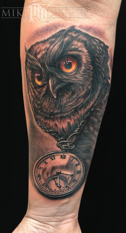 Mike DeVries - Owl and Clock Tattoo