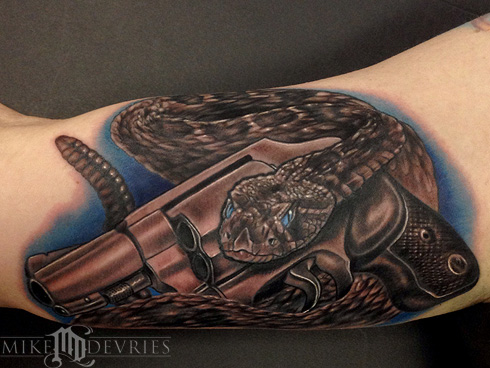 Mike DeVries - Snake And Gun Tattoo