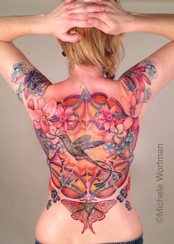Tattoos - Pirkkos Hummingbird in cosmic garden back piece  - 77576