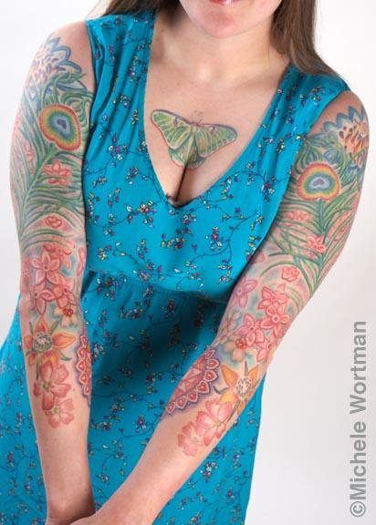 Tattoos - Shauna peacock and flower bodyset - 73236