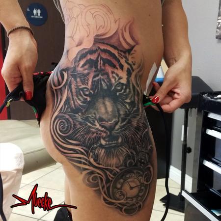 Tattoos - Tiger tattoo and timepiece - 108180