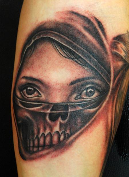 Tattoos - Woman and Skull Tattoo - 63765