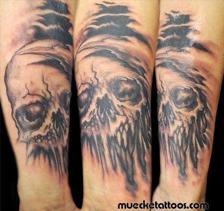 Tattoos - Muecke Skull Coverup tattoo - 75364