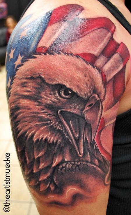 Tattoos - Muecke Eagle and Flag Tattoo  - 86208