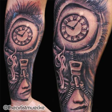 George Muecke - Clock eye tattoo muecke