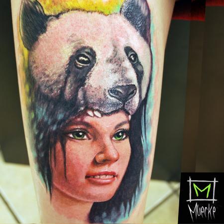Tattoos - Muecke Tattoo portrait panda girl color portrait tattoo muecke  - 89109
