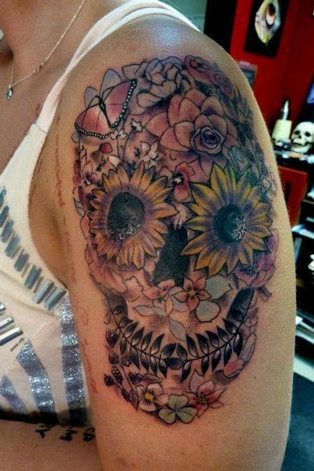 Tattoos - Day of the Dead flower skull - 75614