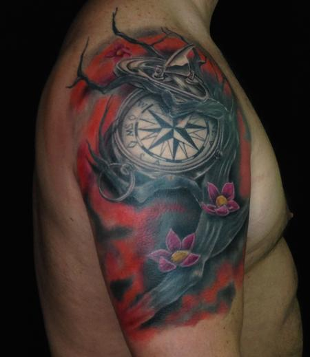 Tattoos - Compass Coverup - 140650