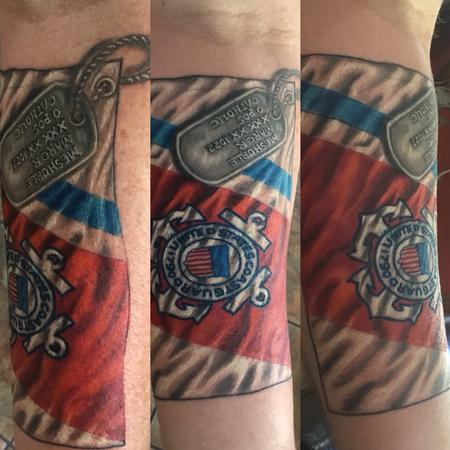 Tattoos - Realistic Coast Guard flag  - 140441