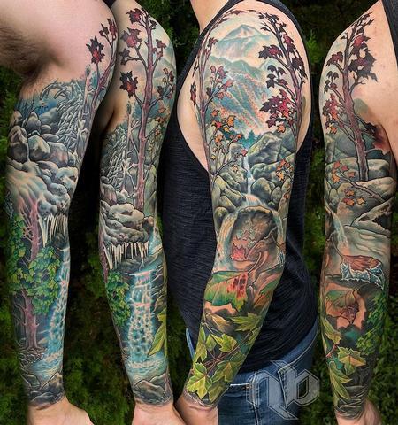 Tattoos - Full Color Nature Sleeve Tattoo - 143090