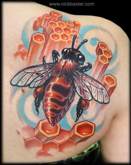 Tattoos - Bee and Honeycomb - 66784