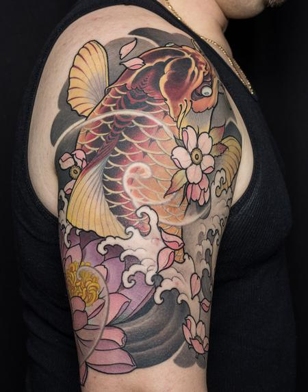 Tattoos - Japanese Koi Half Sleeve - 126198