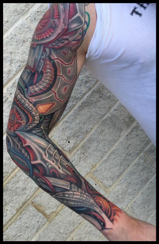 Robotic Anime Biomech Sleeve Tattoo By Phil Robertson Tattoonow