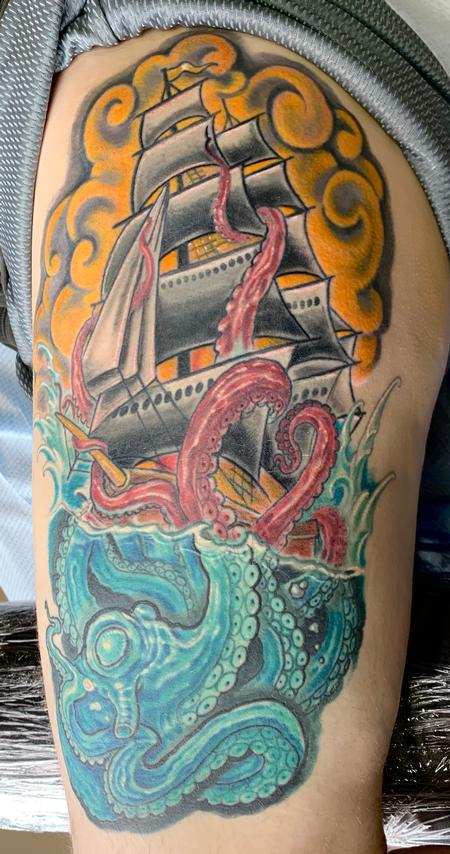 Tattoos - Octopus and ship tattoo - 141459