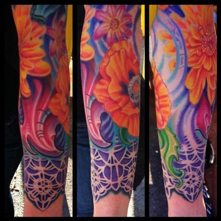 Tattoos - Bio organic flower and lace tattoo - 74264