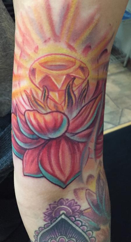 Tattoos - Lotus flower and jewel - 111889