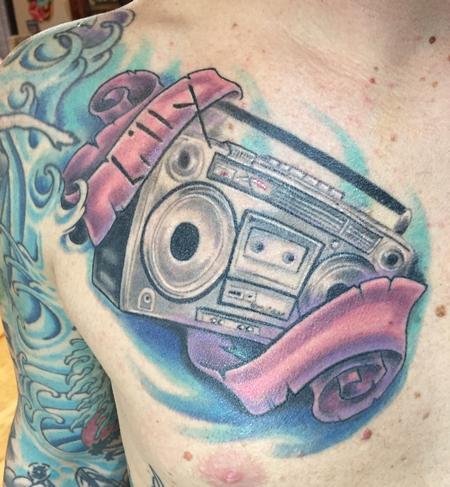 Tattoos - Ghetto blaster color tattoo  - 116262