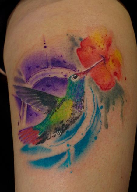 Tattoos - Splashy Hummingbird - 126244