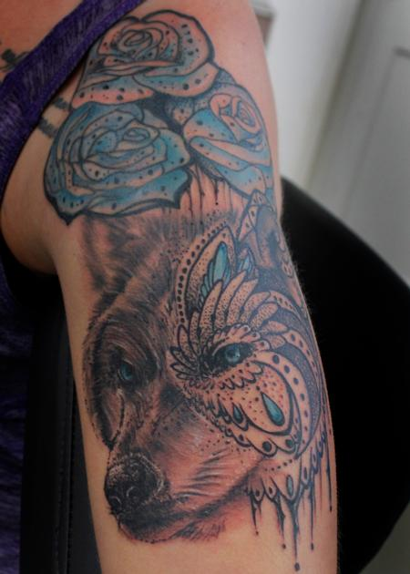 Tattoos - Mandala Wolf - 136101