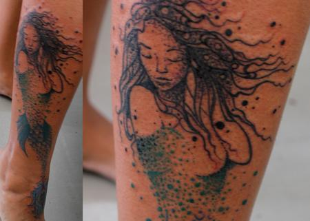 Tattoos - Stipple Mermaid - 134734