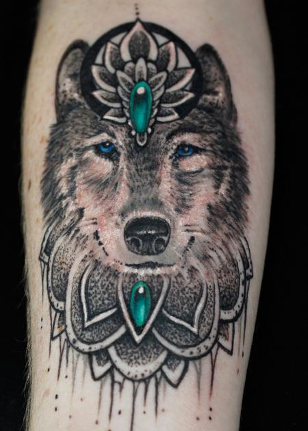 Tattoos - Mandala Wolf - 132330