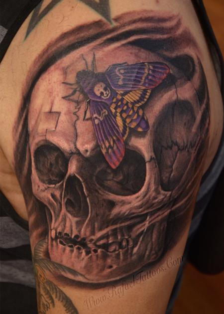 Tattoos - Black and grey weathered skull with purple moth tattoo - 139920