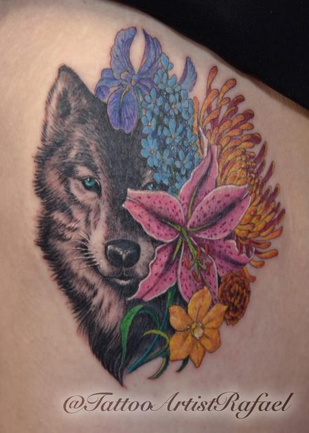 Tattoos - Realistic Wolf face with colored flowers  - 137374
