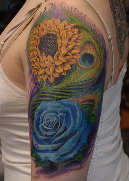 Tattoos - Full colored blue rose and sunflower with peacock feathers arm tattoo - 139917