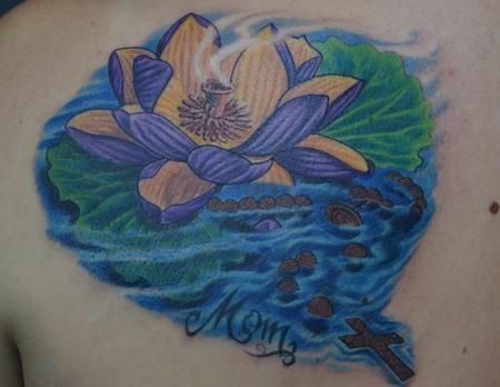 Tattoos - Rosary floating among Lotus  - 99761