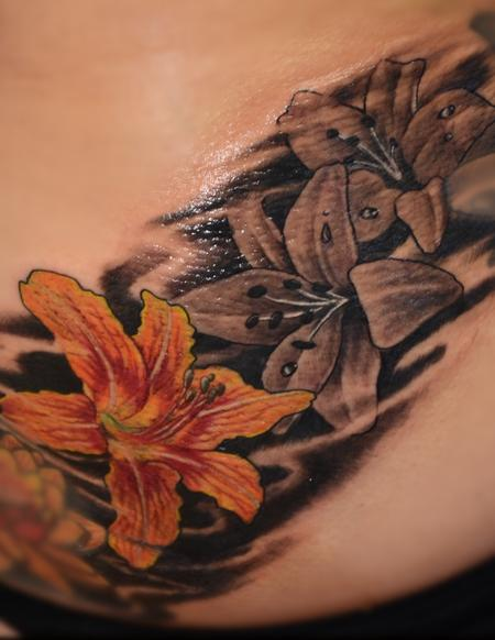 Tattoos - Colorful and Black and Gray Lillies - 95611
