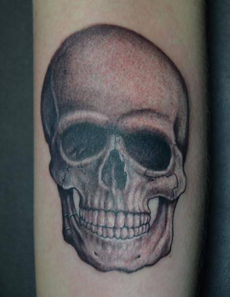 Tattoos - Realistic Black and Grey Skull  - 95624