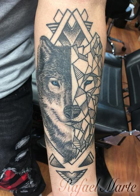 Tattoos - Half realistic and geometric Wolf - 130386