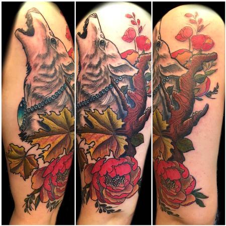 Joe Meiers  - wolf and peony flowers