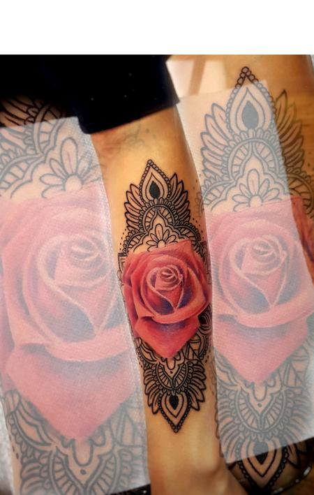983069a3bf54b Rose & Mandala by Manny Almonte : Tattoos
