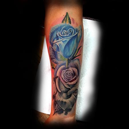Tattoos - Blue and Grey Roses - 133426