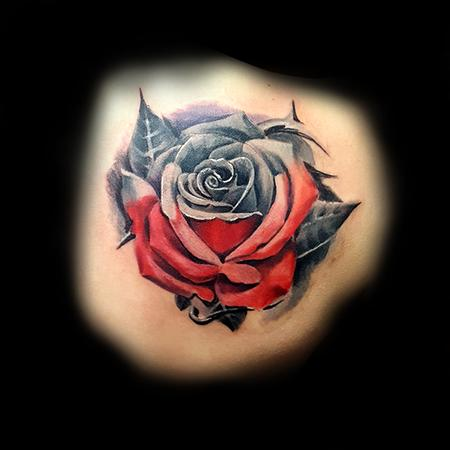 Tattoos - Red and Grey Rose - 133429