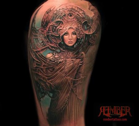 Tattoos - Art Nouveau Portrait - 108664
