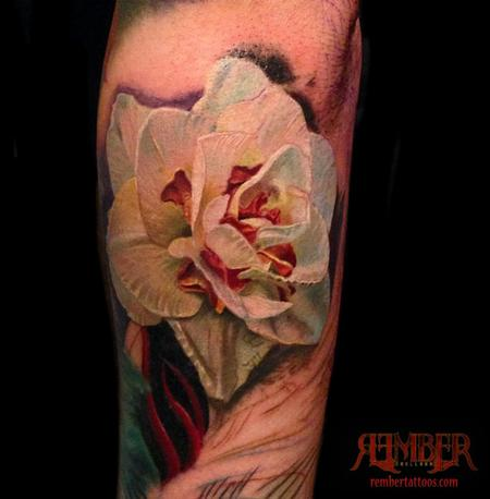 Tattoos - White Flower, Color Realism - 109252