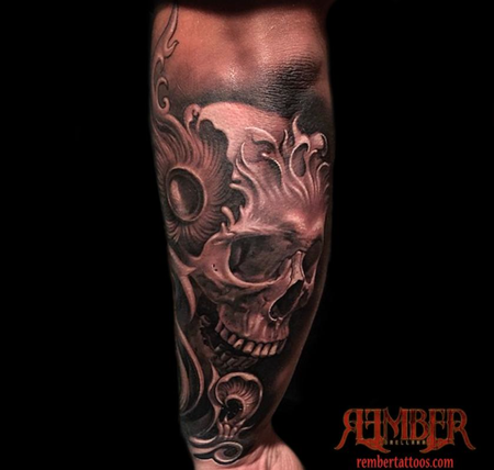 Tattoos - Black and Grey, Realism Skull - 108665