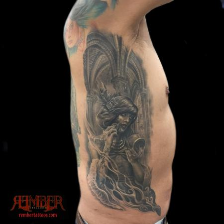 Tattoos - Surrealistic black and grey portrait on ribs - 111529