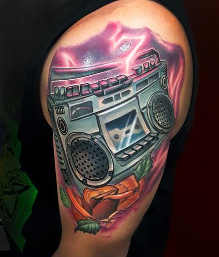 Tattoos - ghetto blaster with rose - 127536