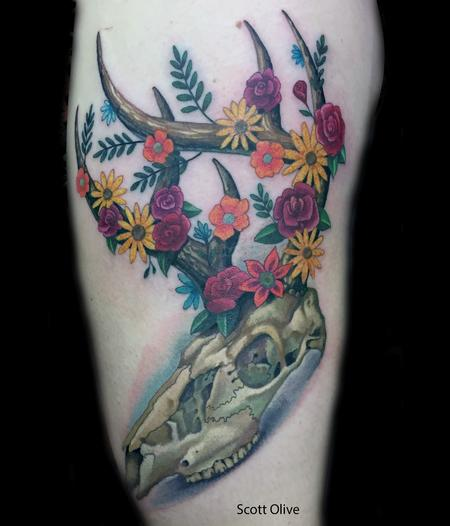 Tattoos - Floral Deer Skull - 125024