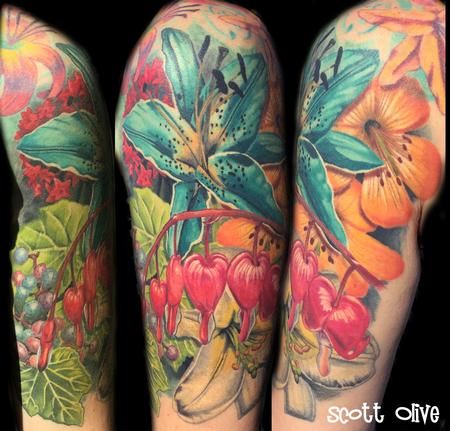 Tattoos - color realism flowers - 123333