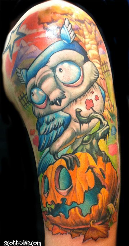 Tattoos - Owl on Pumpkin - 62339