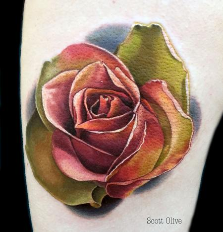 Tattoos - Color Realism Rose - 123327