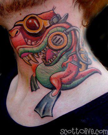 Tattoos - Scuba Diving T-Rex - 55384