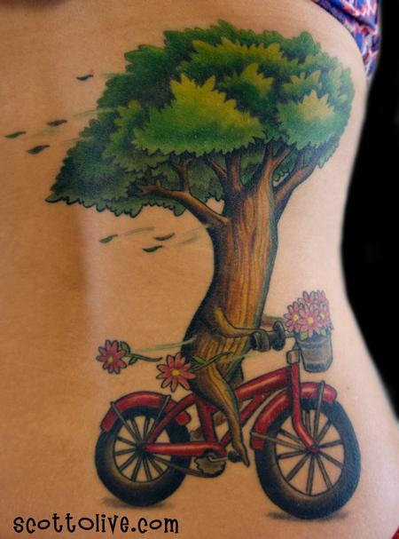 Tattoos - Tree Riding Bike - 104022