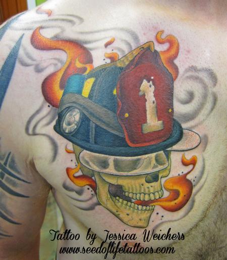 Tattoos - Firemans Skull - 90002